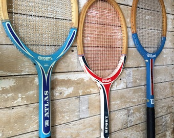 Vintage Tennis Rackets Wooden Set of 3