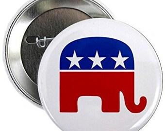 GOP Republican Elephant Conservative Politics Pinback Button Badge (Choose Size)