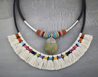 Indian Style Statement Necklace, Colorful Tribal Necklace, Aboriginal Tassel Necklace Natural Stone Pendant, Mexican Necklace
