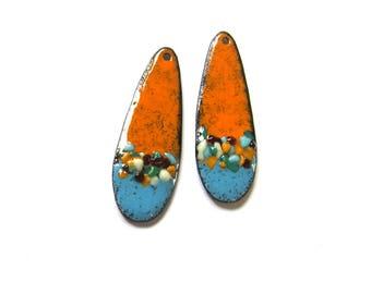 Copper enamel teardrop charms Handmade enameled copper findings Artisan jewelry earring components Orange blue