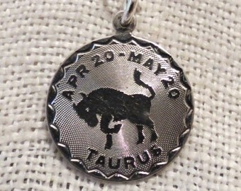 Taurus the Bull Zodiac Astrology Sterling Silver Charm Pendant by Spencer