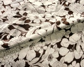 Vintage Fabric, 4 yards by 44 inches, Cotton Sateen Brown and White Large Print Floral Decorator Fabric