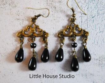 Chandelier, Pearl Earrings, Dangle Earrings, Black Earrings, Chandelier Earrings, Drop Earrings, Statement Earrings, Gift, For Wife, For Mom