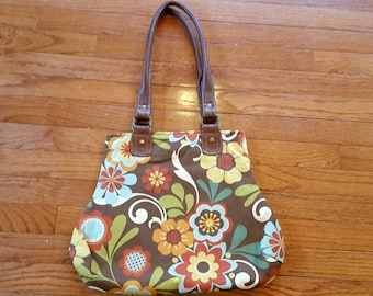 Fall Floral Handbag Whimsical Flowers Brown Orange Green