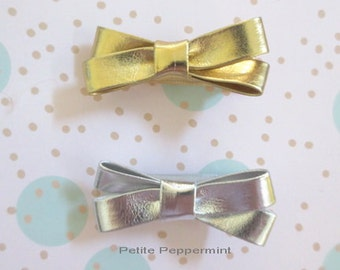 Gold and Silver Bow Hair Clip, Set of 2 Baby Hair Clips, Girl hair clip, baby girl, infant, toddler, girl hair bow, baby barrette