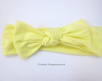Yellow Baby headband, baby girl headband, toddler headband, Baby Bow Headband, Baby Hair Bow, Baby Head Wrap, Baby Turban