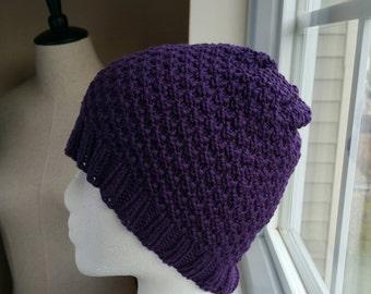 Purple Plum Knit Beanie Hat