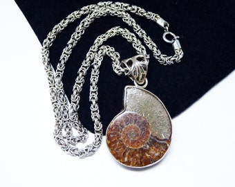 Snail Fossil Pendant - Choker Necklace - Fossilized Ammonite Opalized  - Sterling Silver - Brown Snail - Unisex Natural Vintage Jewelry