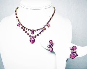 Pink Rhinestone Necklace & Screwback Earrings Demi Set - Pink Glass Moon Glow Art Glass - Gold Tone Settings - Vintage 1940's 1950's 1960's