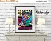 50% Off Today- CAT Art  Poster Print of  Painting  by Heather Galler (Hg262)