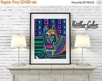 50% Off Today- Belgian Sheepdog art dog Poster Print of painting by Heather Galler