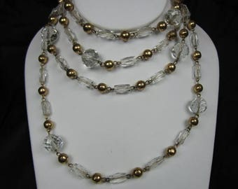 """On Sale Czechoslovakian Necklace Beads Barrel, Round faceted Strung Opera Length 60""""  Wedding, Prom Cocktail Party  Can Re work  11713"""