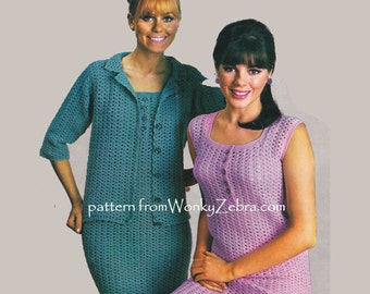 Vintage sixties Crochet Pattern shift dress and jacket cardigan shell top PDF 930 EMAILED from WonkyZebra