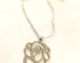 Rose Necklace- rose pendant, hand sawn pendant, sterling silver, silver pendant, rose, rose jewelry, handmade jewelry,