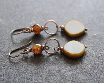 Grey Czech Glass and Twisted Copper Earrings,  Rustic Copper Earrings, Earth Tone Earrings