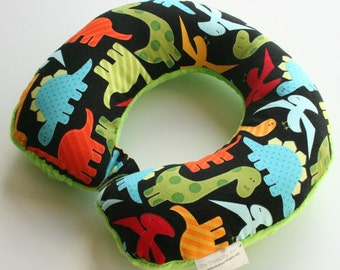 Child Travel Neck Pillow - Dinosaurs (w/ Lime Green Minky)