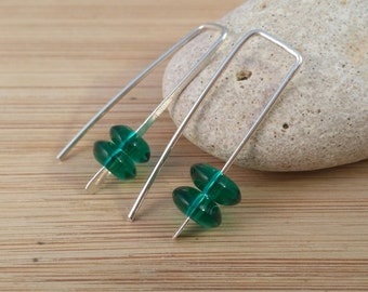 Emerald Green Beaded Earrings. Simple Pull Through Sterling Silver Earrings. Small Modern Earrings. Geometric Stacked Green Glass Rectangle