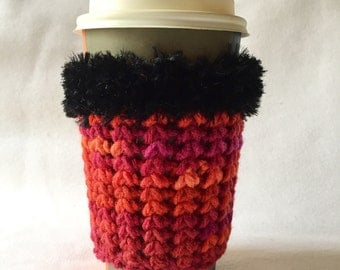 Crochet Coffee Cup Cozy Sleeve Black Pink and Gray with Eyelash yarn Trim