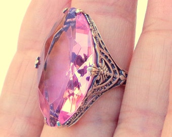 Pink Topaz Ring,Edwardian Style,Sterling Silver Filigree Ring,Genuine Gemstone,Victorian Style Jewellry
