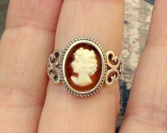 Hand Carved Cameo Ring, Adjustable Sterling Silver Ring, Vintage Conch Shell Cameo, New Sterling Silver Ring, OOAK