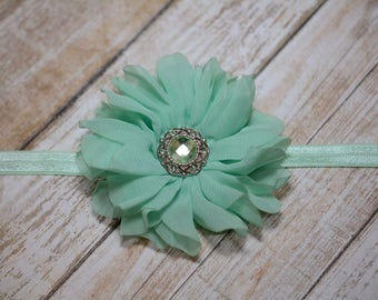 CLEARANCE / Mint Chiffon Flower Headband/ Mint Baby Headband/ Baby Hair Accessories/ Girls Hair Accessories/ Sale Headband/Soft Green Flower