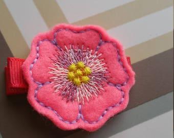 Pink On Darker Pink Feltie Flower Hair Clip / Non Slip Hair Clip / Baby To Adult Hair Clip/  Ready To Ship