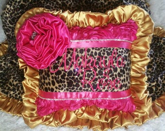 Gypsy Style square Pillow Gold ruffles 12X12 Fuchsia 3D Rosette fabric stuffed bling string chain ribbon large flower soft rose cuddle nice