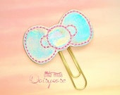 Kitty Bow Planner Clip Paperclip in Iridescence pink