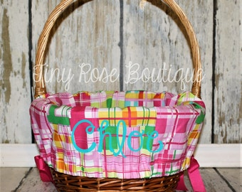 Personalized Easter Basket Liner -  Pink madras Plaid Basket Liner