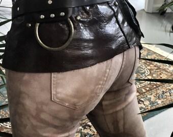 Distressed Brown Leather Festival Belt / Brown Utility Belt