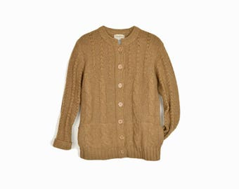 Vintage Cable Knit Cardigan Sweater in Camel Brown - women's small/medium