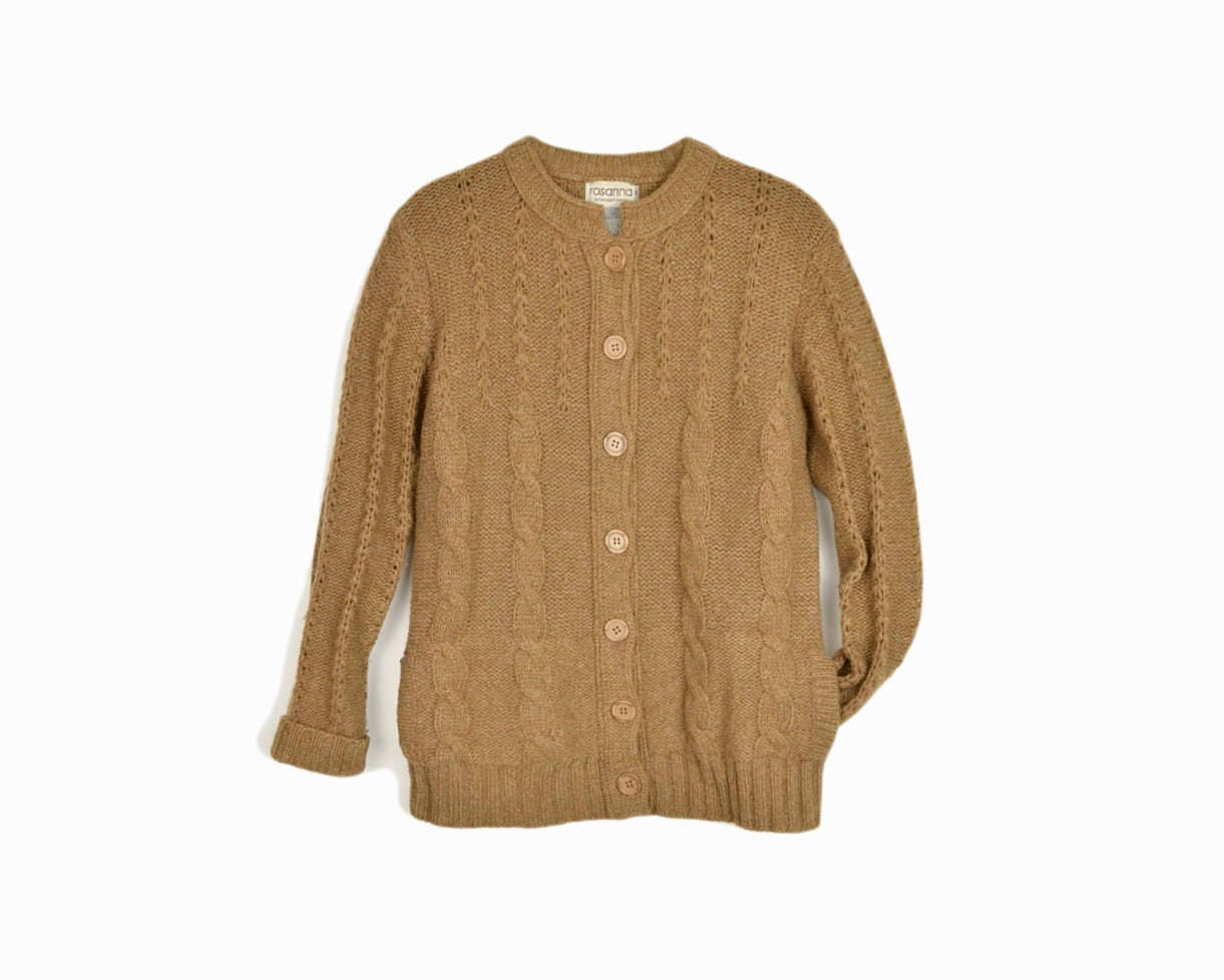 Vintage Cable Knit Cardigan Sweater in Camel Brown - women's small ...
