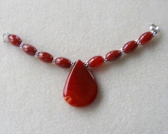 Carnelian Pendant and Beads, DIY Jewelry Kit,  Focal Beads, Gemstone Beads, Jewelry Making Beads, Beaded Centerpiece, Crafts