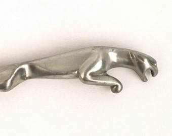 Sleek Modern Pewter Panther Brooch Silver Running Jaguar Abstract Pin Cat Lover Animal Jewelry