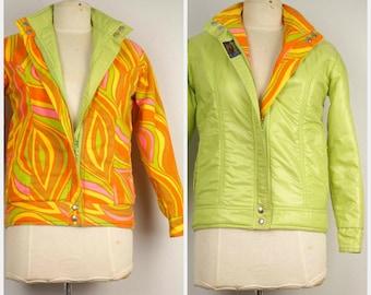 WOW 60s vintage MOD bright reversible ski jacket neon yellow pink orange green psychedelic Snowbunny Jacket snowboarding small