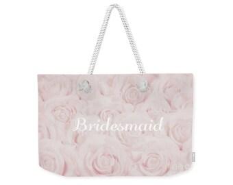 "Blush Pink ""Bridesmaid"" Large Weekender Tote Bag, floral print, gift for bridesmaid, bridesmaid gift, destination wedding- 1610PKBRIDESMAID"