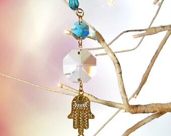 Sun Catcher, Aqua Blue Crystal, Gold Hamsa Hand