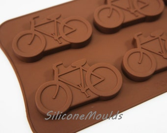 6 cell large BICYCLE Sports Cycling Bike Silicone Bakeware Mould Candy Cake Mold Cupcake Toppers / Resin / Wax / Soap