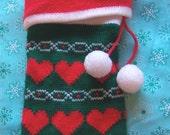 fun hearts vintage knit stocking