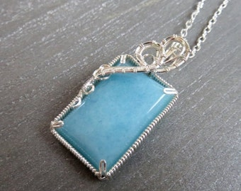 Silver Amazonite Necklace - Silver Wire Wrap Amazonite Necklace - Natural Stone Necklace - Elegant Necklace - Holiday Gift Idea