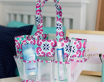 Mia Tile Shower Caddy Bag Monogrammed Personalized