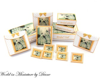 Dollhouse Victorian Wedding Boxes, Dollhouse Digital Download Boxes 1:12 Victorian Bridal Boxes Kit, Miniature Wedding Boxes Printies