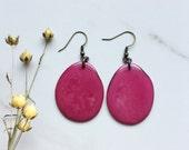 Pink Earrings. Tagua nut jewelry. Fuchsia earrings. Fair trade earrings. Hot Pink earrings. Sela Designs. Large earrings. Stocking stuffers.