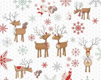 Studio E Joy, Love, Peace White Reindeer Fabric - 1 yard