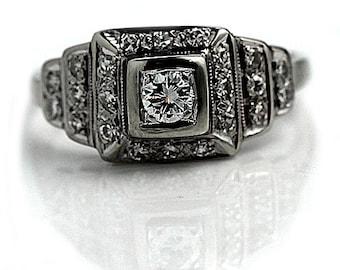 Vintage Art Deco Engagement Ring .64ctw Antique Ring Platinum Art Deco Ring Old European Cut Art Deco Promise Ring 1930s Ring!