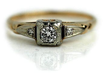 Promise Ring Unisex Wedding Ring Vintage Promise Ring .19ctw 1940s Antique Promise Transitional Cut Unique Engagement Ring Delicate Ring!