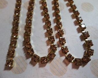 3mm Light Brown Rhinestone Chain - Brass Setting - Light Colorado Topaz Preciosa Czech Crystals