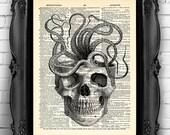 Skull Giant Octopus Art Print Bathroom Decor, Squid artwork Octopus Skeleton Book Page Print skeleton Wall Decor, Funny Bathroom Art 035
