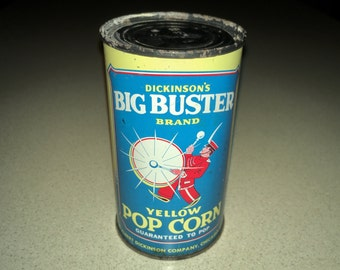 Vintage 1940s Dickinson's Big Buster Popcorn Tin Can, Unopened with Original Contents! Old Store Stock, Tin Lithograph Can