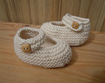 Handknitted Cotton Baby Booties